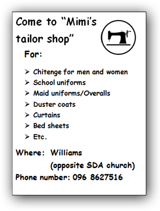 "Flyer for Mirriam: ""Mimi's tailor shop"""