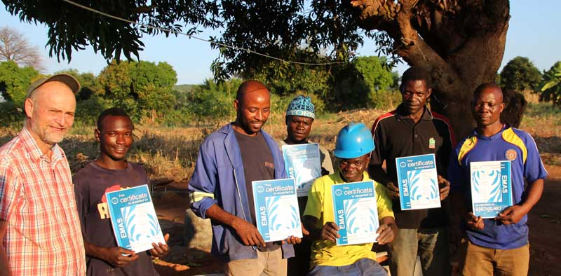EMAS trained drillers, welders and Zambian trainers