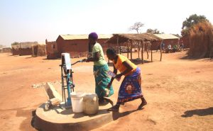 Borehole with pump