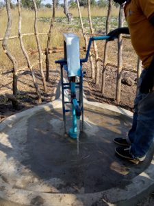 pump on borehole Marksensio Phiri
