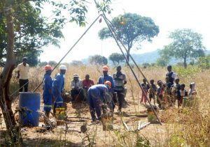 Drilling at Mr. Simbani's plot