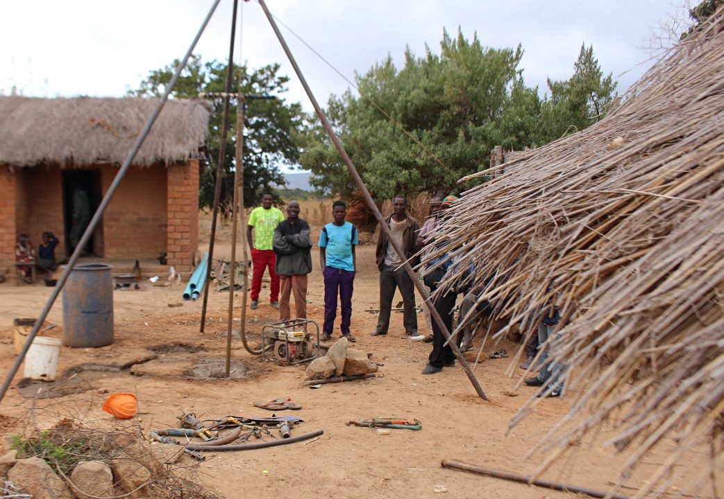 The drilling of the borehole at Marksensio's place